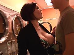 Redhead Claire Dames fucks in sexy striped stockings tube porn video