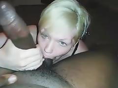 Freshly married white lady blowing BBC tube porn video