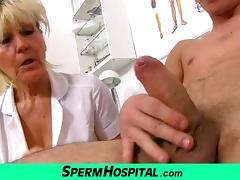 Nasty grandma doctor Hana milking young boy tube porn video