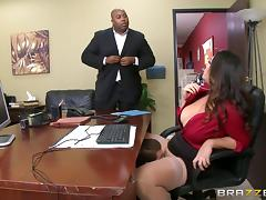 Chubby MILF in pantyhose gets licked and fucked in the office tube porn video