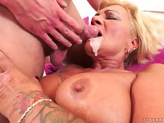 Chubby granny fucked in her hairy vagina by his big cock tube porn video
