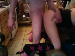 Perverted fella fucks her mistress and her pink high heels tube porn video