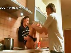Oral bang on the kitchen unit with Ivana tube porn video