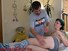Adorable Tattooed Girl Fucks Mature Roommate For A Massage tube porn video