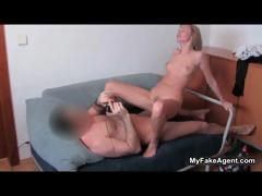 Sexy blonde whore goes crazy riding tube porn video