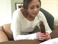 White girl sucks then fucks her new, hung, ebony stepdad tube porn video