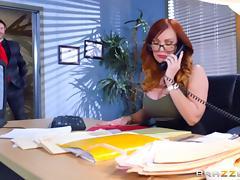 Fake tits slut Dani Jensen fucked in the office tube porn video