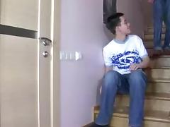 Sex on the stairs with a skilful crossdresser tube porn video
