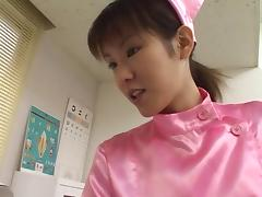 Sexy Asian nurse in pink stimulates her patient with her mouth tube porn video
