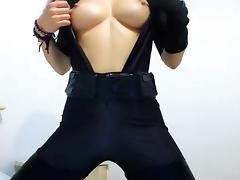Sexy Girl in Catsuit plays tube porn video