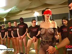 German Goo Girls - Blindfolded MILF bukkake gangbang tube porn video