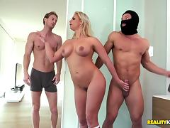 Curvy milf fucked by a burglar with her husband in the bed tube porn video