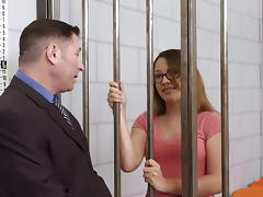 Nerdy babe is penetrated in the missionary way in the prison tube porn video