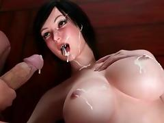 3D swimsuit futanari hot fucked on the gym ball tube porn video