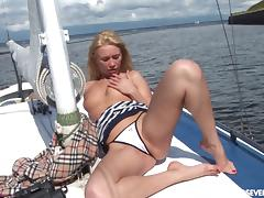 Blonde beauty on a yacht stripping and masturbating tube porn video