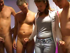 European babe gets gangbanged. Facial tube porn video