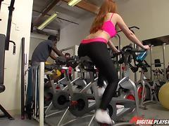 Beautiful redhead Farrah Flower fucking lustily in the gym tube porn video