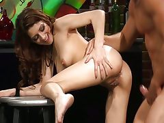 With cutie Lexi Bloom in a bar tube porn video