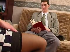 Long legged Russian MILF in stocking and a guy tube porn video