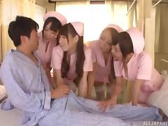 Slutty Japanese nurses fucking him in a fivesome tube porn video