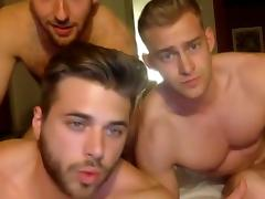 3 muscle bi-curious boys sucking cock  have fun on cam tube porn video