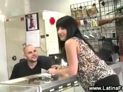 Latina seducing at a gun store tube porn video