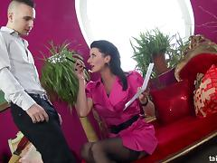 Clothed fuck of a hot chick in a sexy pink dress and stockings tube porn video