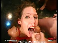 Leggy girl gets her pretty face covered in thick cum tube porn video