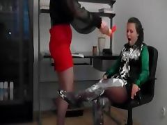 Lesbian cute slave getting messy tube porn video