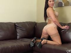 Amazing ass London Keyes teases in pantyhose and fucks a toy tube porn video