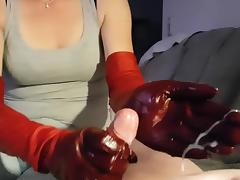 Leather Gloves Red tube porn video
