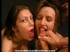 Lipstick is sexy on these ladies that love bukkake tube porn video