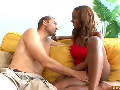 Seductive chocolate bombshell finally tries the white sausage tube porn video