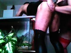 BBW rimming pegging and fisting CD in PVC dress tube porn video