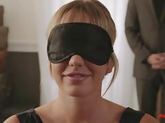 Brett Rosi is now blindfolded and ready for the deep penetration tube porn video