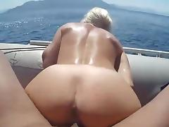 Sex in a boat tube porn video