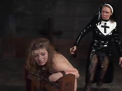 Cute Harley Ace almost cries while the horny nun tortures her pussy tube porn video