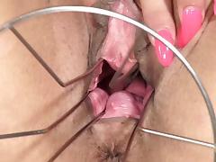 PJGirls Klarisa Leone gaping pussy, self-fisting & gyno toy tube porn video