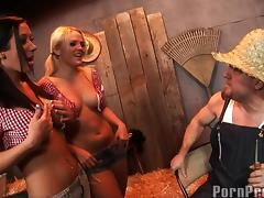 Alexis Texas and Jayden James share a big boner in the barn tube porn video