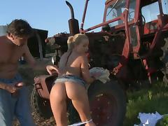 Hot farm girl moans while riding a dick in the fields tube porn video