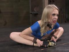 Blonde in a blue dress stripped and whipped by hunks tube porn video