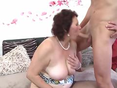 Busty mother suck and fuck young lucky son tube porn video