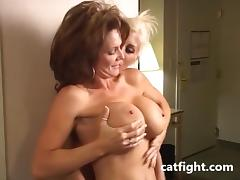 Big Boobs Bobby in action in Catfight tube porn video