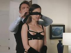 Emma Marx blindfolded before an awesome erotic affair tube porn video