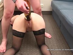 Amateur gaping asshole with bottle of wine tube porn video