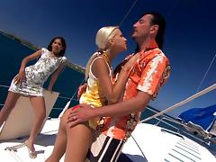 Sahara Knite and Boroka Bolls get frisky with a cock on a boat tube porn video