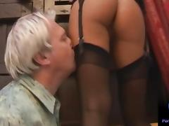 Valentina Velasquez gives sensual footjob to grandpa tube porn video