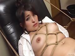 Subtitled bizarre Japanese BDSM anal play with enema tube porn video