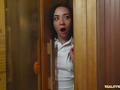 Phoenix Marie and her horny lesbian friends fuck in a sauna tube porn video