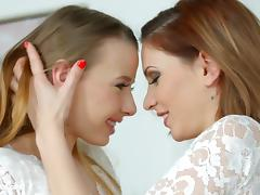 Lovemaking the lesbian way with Candy Sweet and Olivia Grace tube porn video
